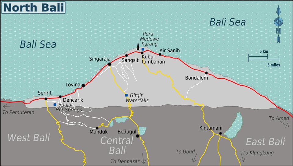 Reisinformatie noord bali wayang travel kaart van noord bali altavistaventures Gallery