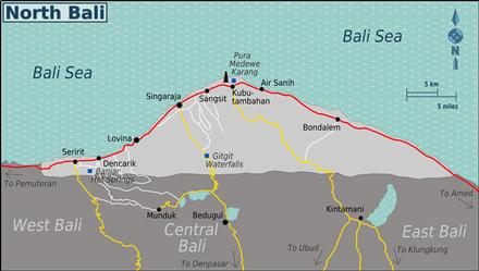 Kaart van Noord Bali