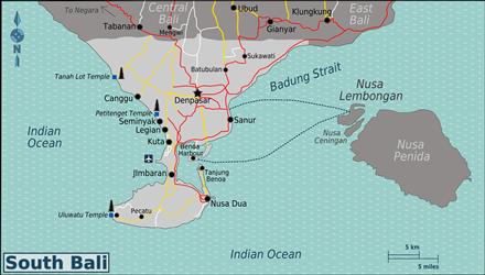 Kaart van Zuid Bali