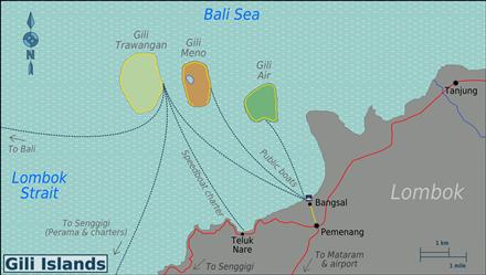 Kaart van de Gili eilanden